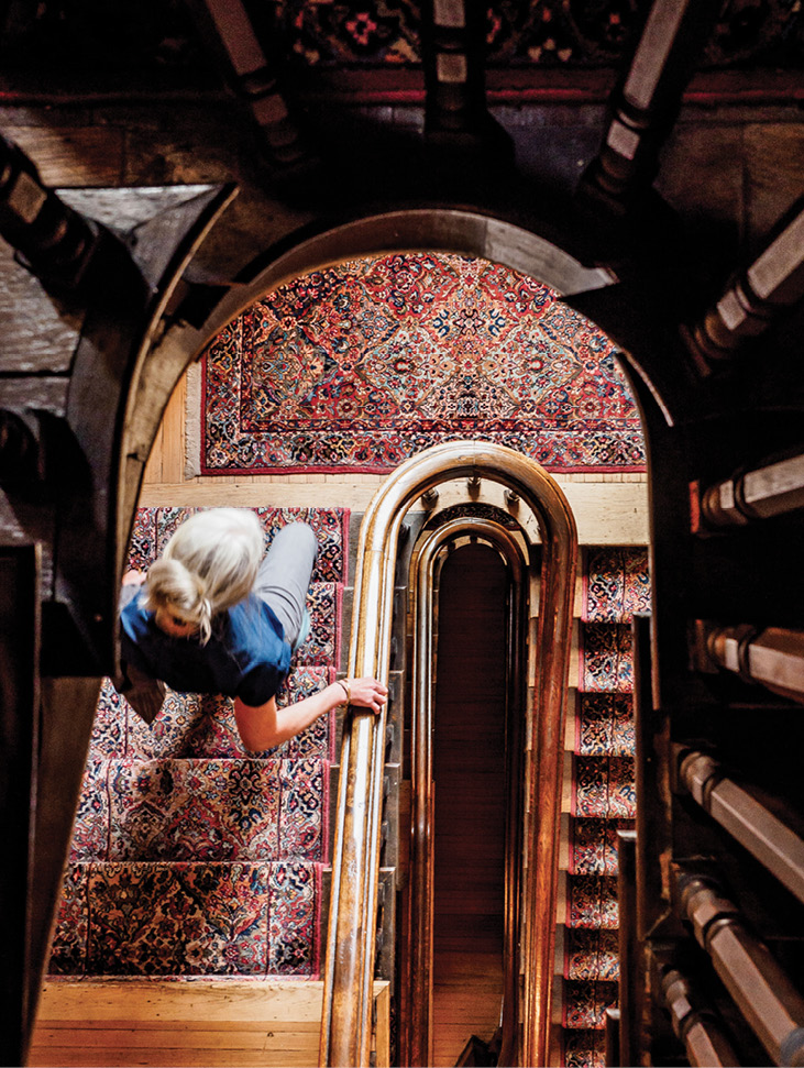 Heading down the staircase at The Kehoe House to breakfast with grits and herbed eggs and chats with storytelling chef Terre Reed