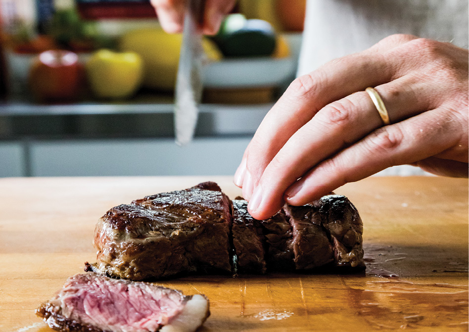 Grass-fed bison strip steaks can be purchased at WholeFoods Market.