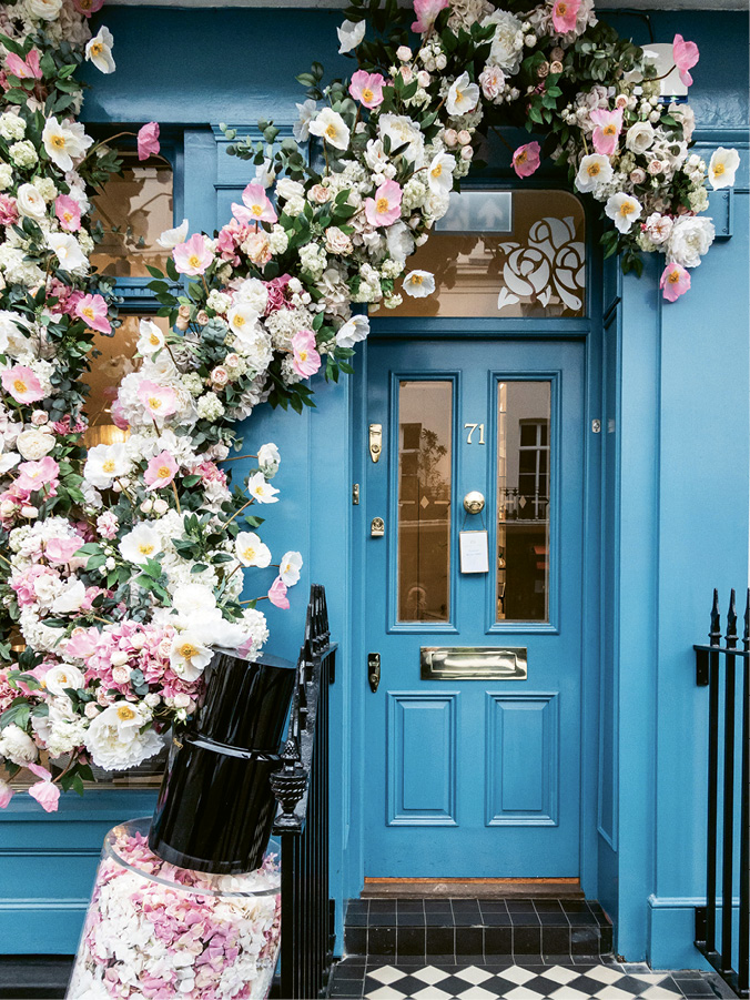Flowers cascade in and around Elizabeth Street boutiques such as Les Senteurs perfumery....