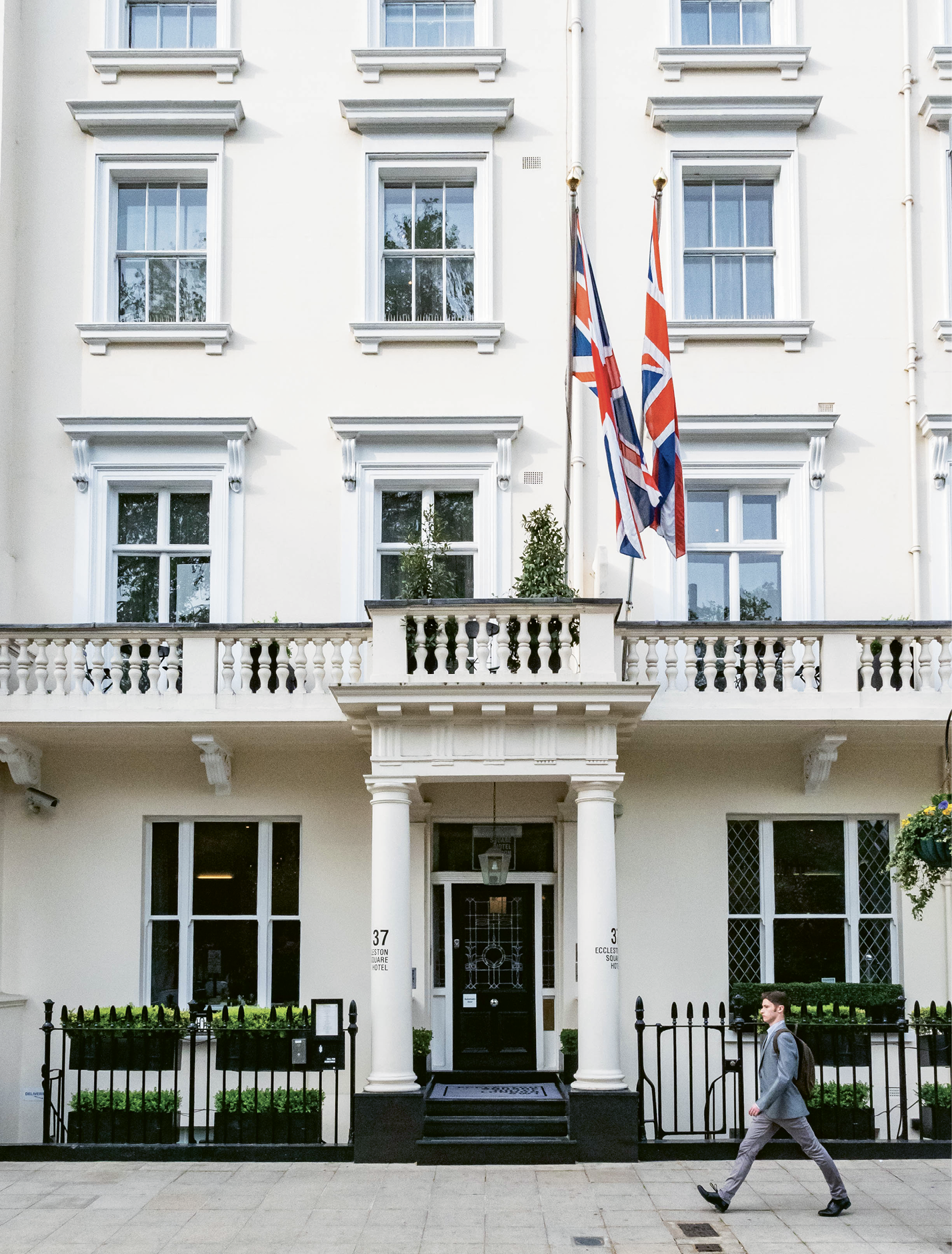 Eccleston Square Hotel is on a quiet side street a few blocks from the trains and buses at Victoria Station.