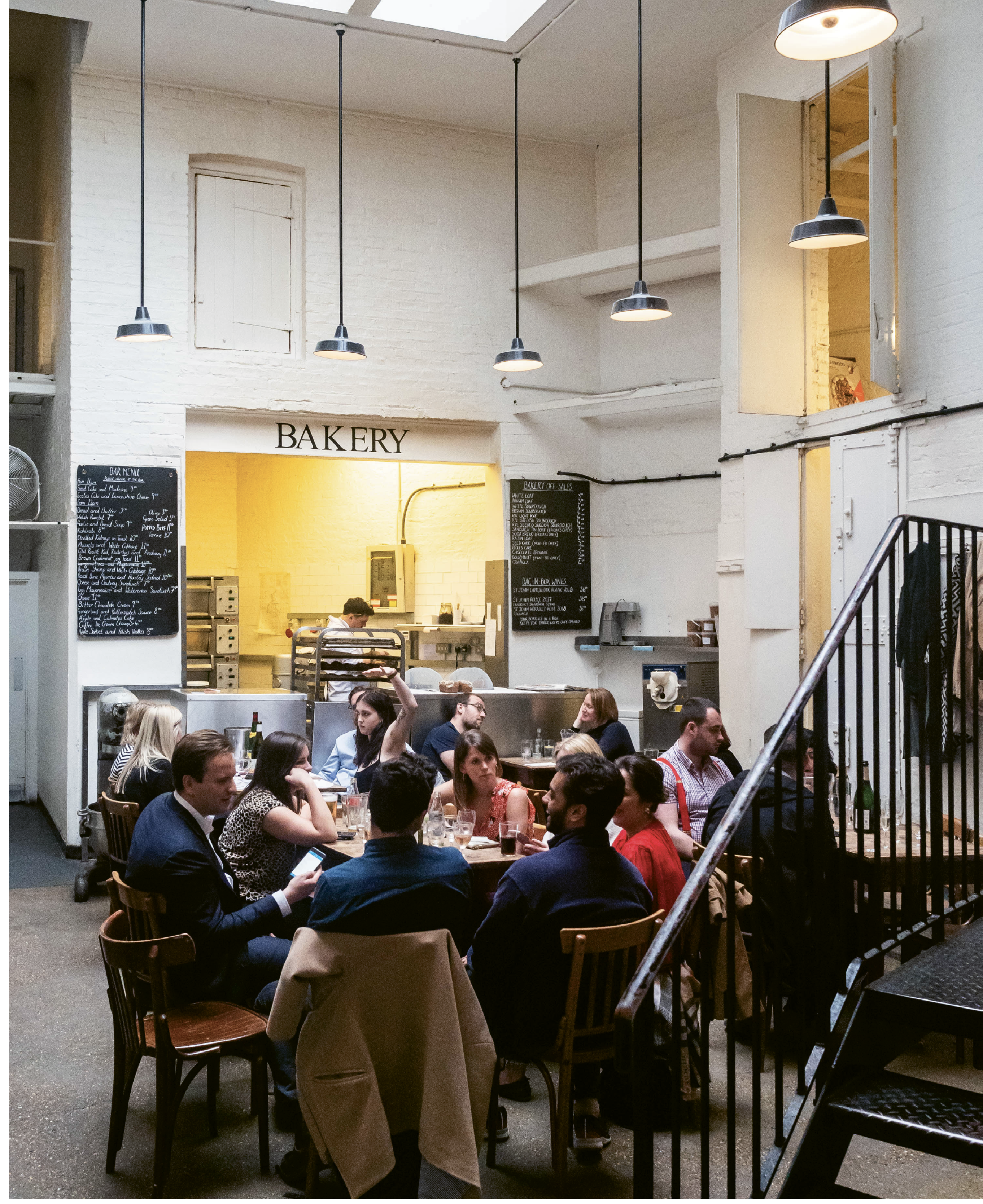 """There's no art on the walls nor music in the background at St. John—the focus here is """"proper British"""" food and drink, with plenty of wit and conversation, too."""