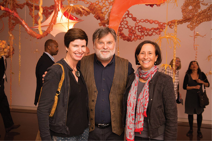 Sloan at the opening with Halsey supporters Courtenay Cone and Pam Fischette