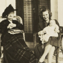 Daisy Breaux Simonds (left) with the estate manager's wife, Helen Jennings, and son, Royce Lee Jennings, pictured on the porch in 1948. IMAGES COURTESY OF (POSTCARD) LEAH GREENBERG POSTCARD COLLECTION, SPECIAL COLLECTIONS, COLLEGE OF CHARLESTON LIBRARIES & (DAISY WITH HELEN JENNINGS) LEE JENNINGS