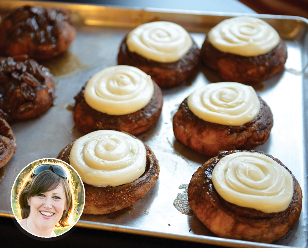PASTRY SHOP: WildFlour Pastry; the famous sticky buns, and (inset) chef-owner Lauren Mitterer