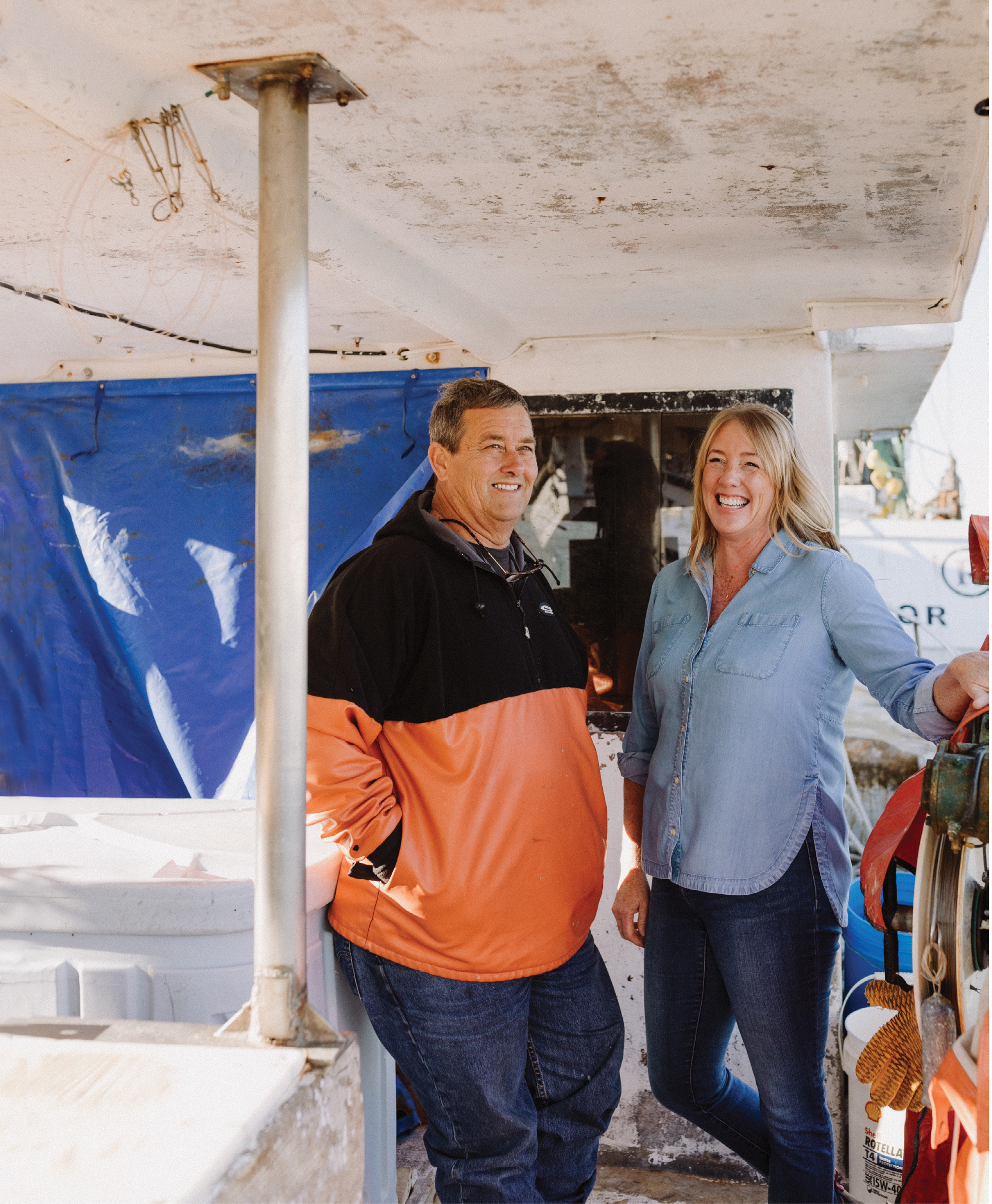 Mark and Kerry at Geechie Dock, where they launched Abundant Seafood's Community Supported Fishery in 2010. Mark was among the first wave of fishermen to create a seafood membership plan that allows individuals to pay for quarterly allotments of fish, available for pickup twice each month.