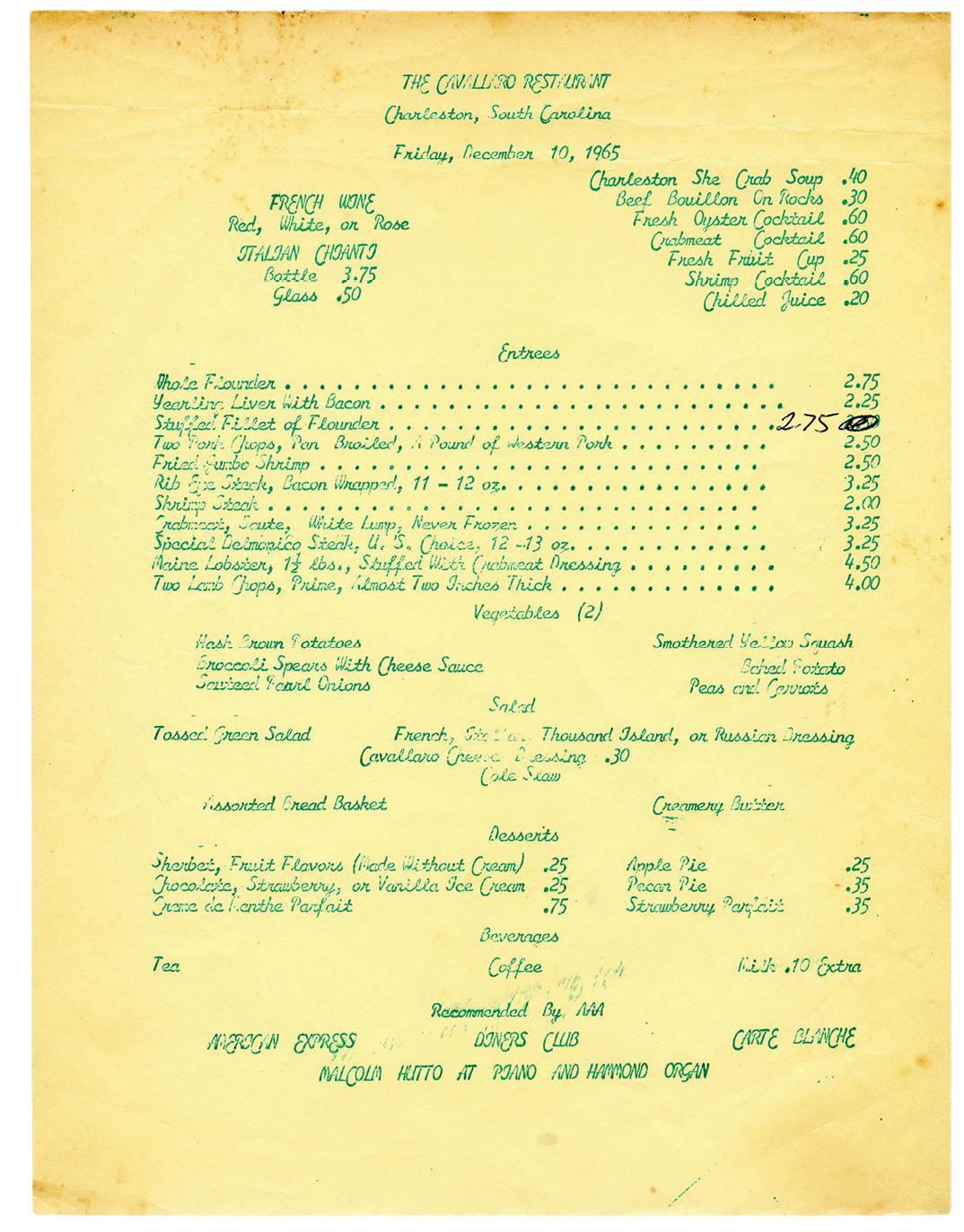 The Cavallaro menu