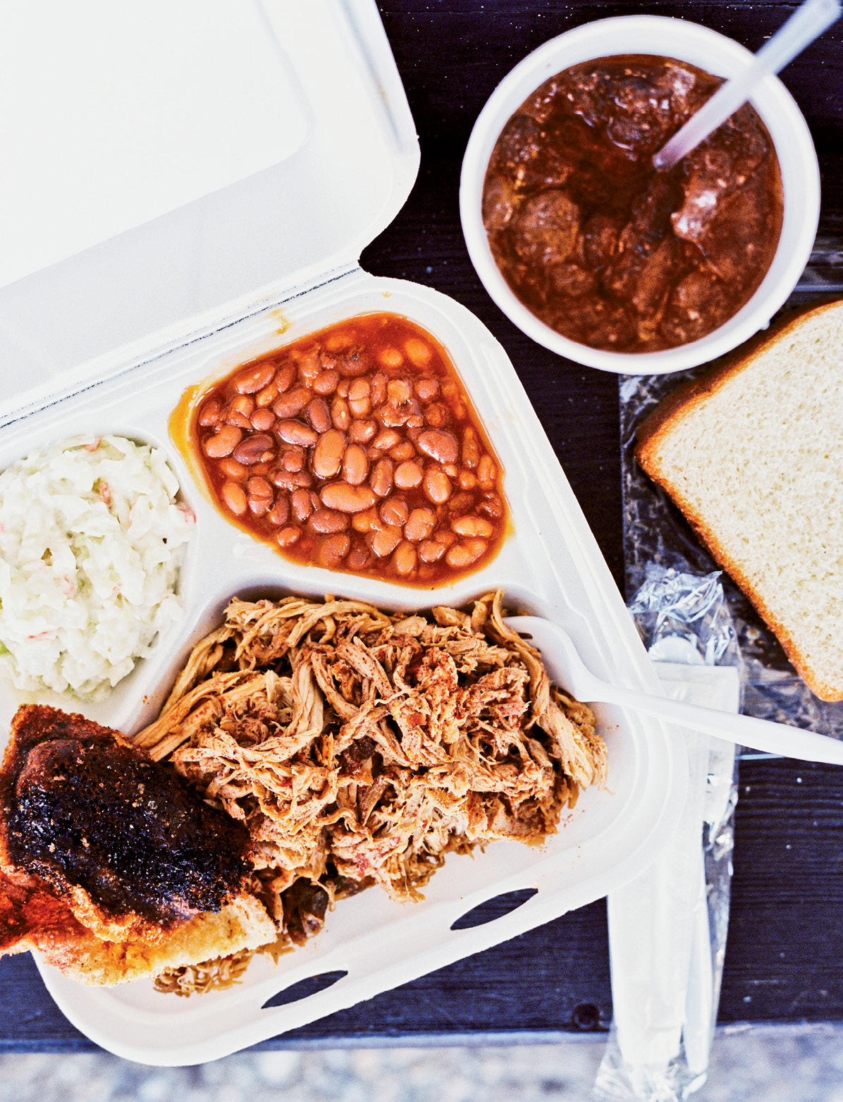 Pulled pork, chicken, and sides from Scott's Bar-B-Que, Rodney Scott's family's place in Hemingway