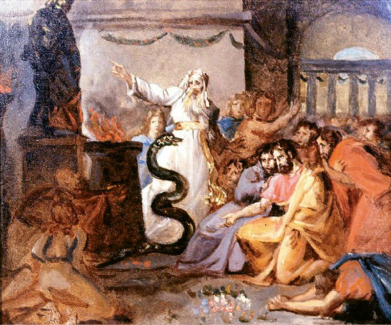 """1936: Victor donated the Washington Allston paintings Moses and the Serpent (pictured) and David Playing Before Saul to Carolina Art Association and Gibbes Art Gallery. He also presented a self-portrait of James DeVeaux, """"a native artist,"""" and a miniature of Mrs. Samuel Wilson (née Paul) by Thomas S. Officer."""