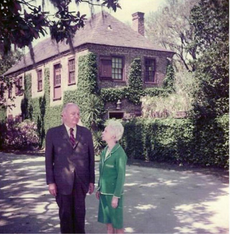 1943: Claude W. and Helena I. Blanchard in front of the circa-1750 carriage house at Fenwick Hall. On October 22, Marjorie sold Fenwick Hall and 1,322 acres to Claude Blanchard for $45,000. The family resided there until 1979.