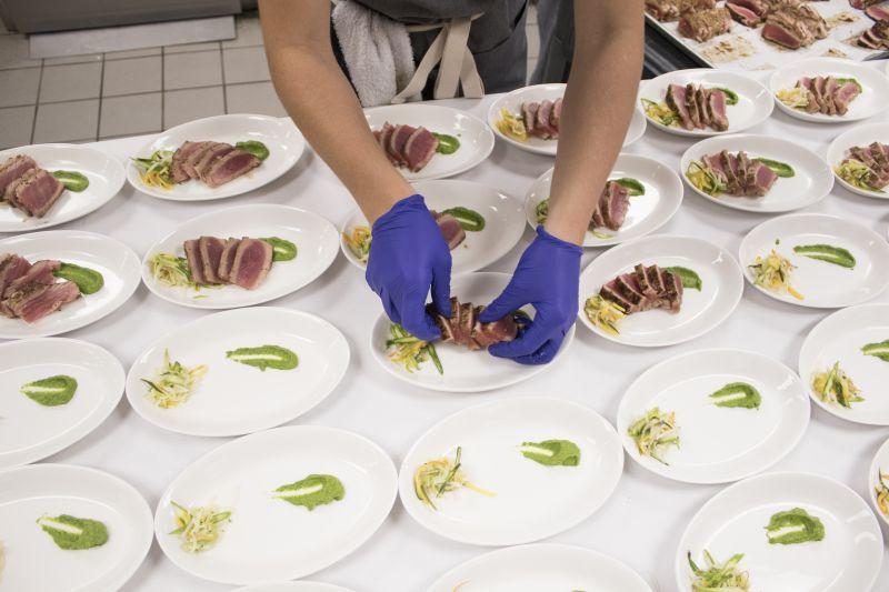 The evening's first course: seared ahi tuna salad