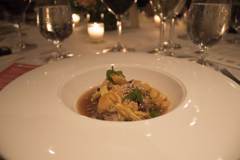 Oxtail stew served with benne seeds and cauliflower