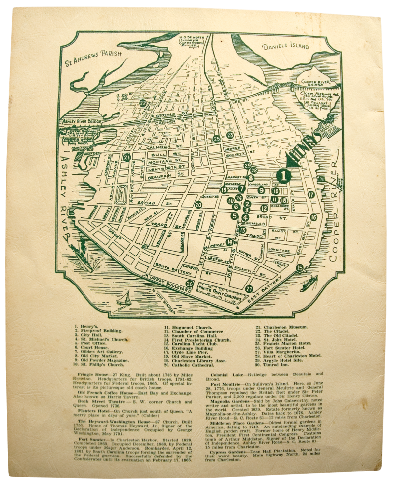A promotional map of the city's sites and institutions features a prominent arrow pointing to the legendary Charleston eatery, located on Market Street.