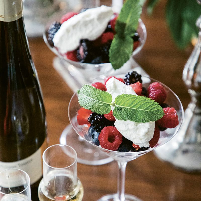 """Wagner suggests pairing the dessert with Cerdon du Bugey, a sweet bubbly from Domaine Renardat-Fâche. """"It goes perfectly with berries or chocolate,"""" she notes."""