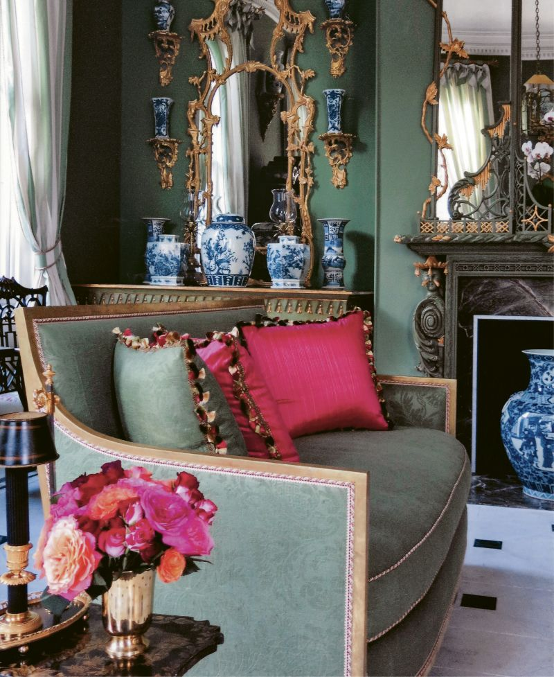 Living In Color: Her living room is an ornate ode to texture, color, and craftsmanship and a showcase for her love of chinoiserie, including lacquerwork, carved and gilded wood, and blue-and-white porcelain.