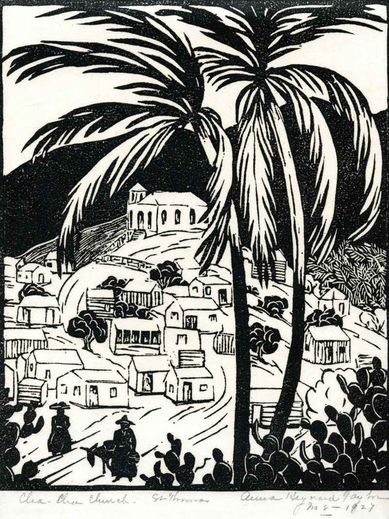 Two years after her 1926 visit to St. Thomas with Rachel Hartley, Taylor created this woodblock print, Cha Cha Church, St. Thomas, depicting the hillside of houses and a church at the top.