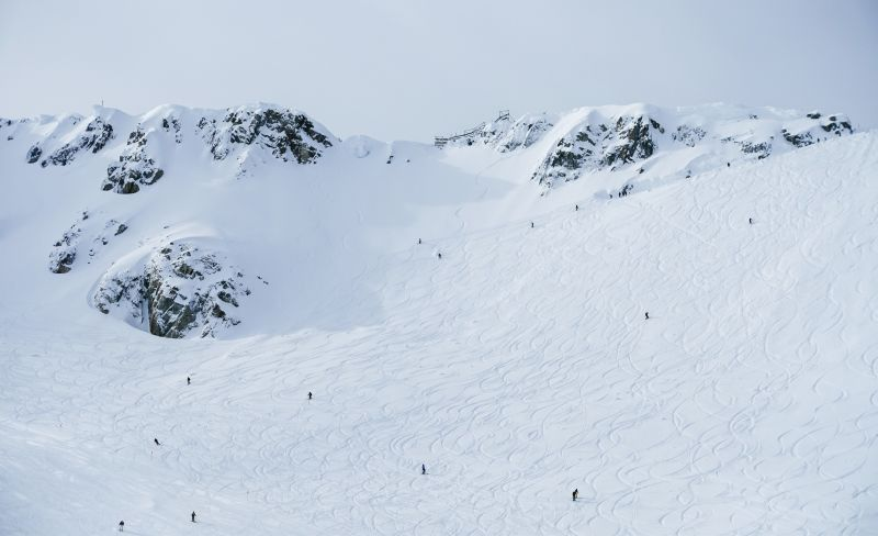 Bowls for Days: Whistler Blackcomb's skiable terrain is so vast that there's almost always a place to carve a few fresh tracks into a snowy bowl.