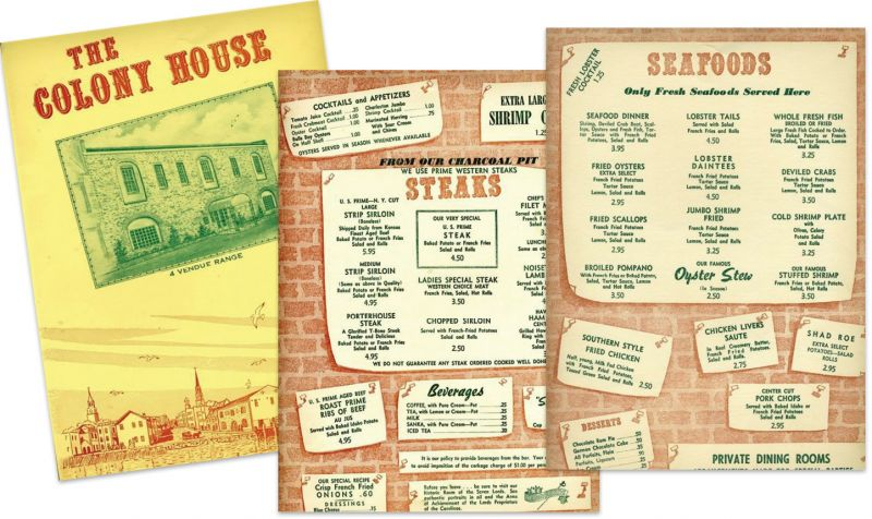 """Menus from the old school restaurant circa 1960s, before new owners Franz Meier, Chris Weihs, and Harry Waddington """"would turn haute cuisine in Charleston on its head."""""""