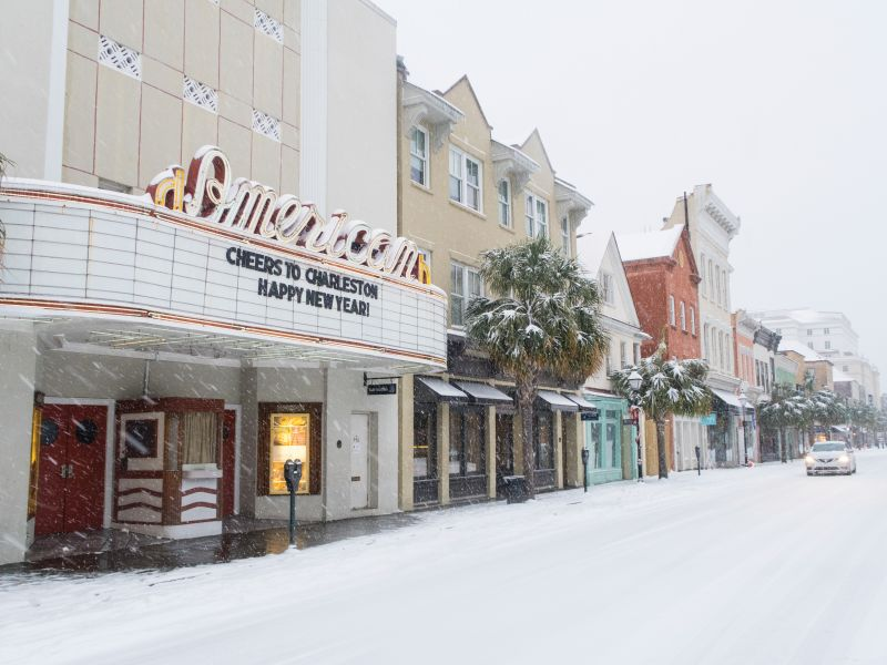 <strong>King Street: </strong>On January 3, midday sleet turned into afternoon flurries, the flakes piling up and turning downtown into a snow globe;<em>photograph by</em><i>Fallon Peper</i>
