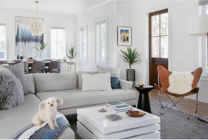 "Wide-Open Spaces: Shiplap walls painted in Benjamin Moore's ""White Dove,"" oak floors, and reclaimed beams set the stage for the open living area, including a cozy sectional sofa from West Elm where Mia the Maltipoo relaxes among pillows from Lyndon Leigh."