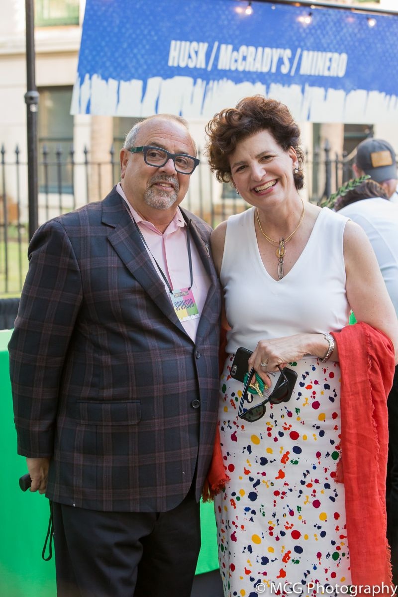 Micky Bakst with Gibbes executive director and chief curator Angela Mack