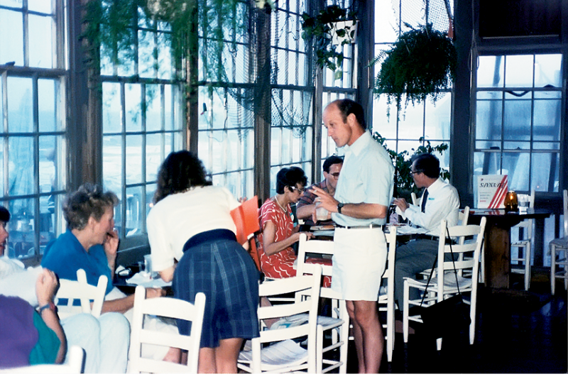 """Dining in the mid-1980s, before Hurricane Hugo claimed the """"Restaurant Above the Surf"""" for the sea"""
