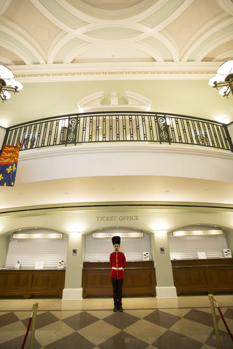 """A member of the """"Queen's Guard"""" mans his post in the Gaillard lobby."""