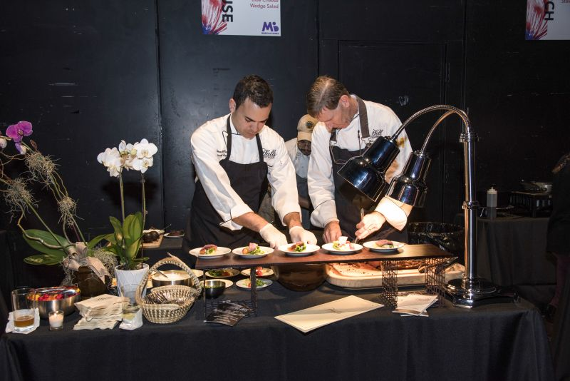 The team of Halls Chophouse worked tirelessly carving the prime rib to serve with the Clemson Blue Cheese wedge salad.
