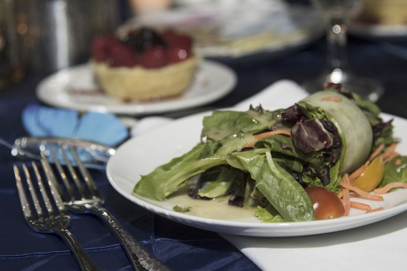 The Gaillard Center provided dinner, with zucchini-wrapped salad as the first course.