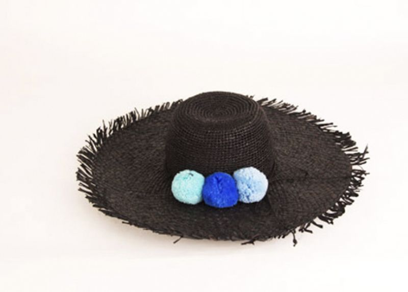 "Pool to Party by Subtle Luxury ""Pom Pom"" hat in ""black pool,"" $84 at Julep"