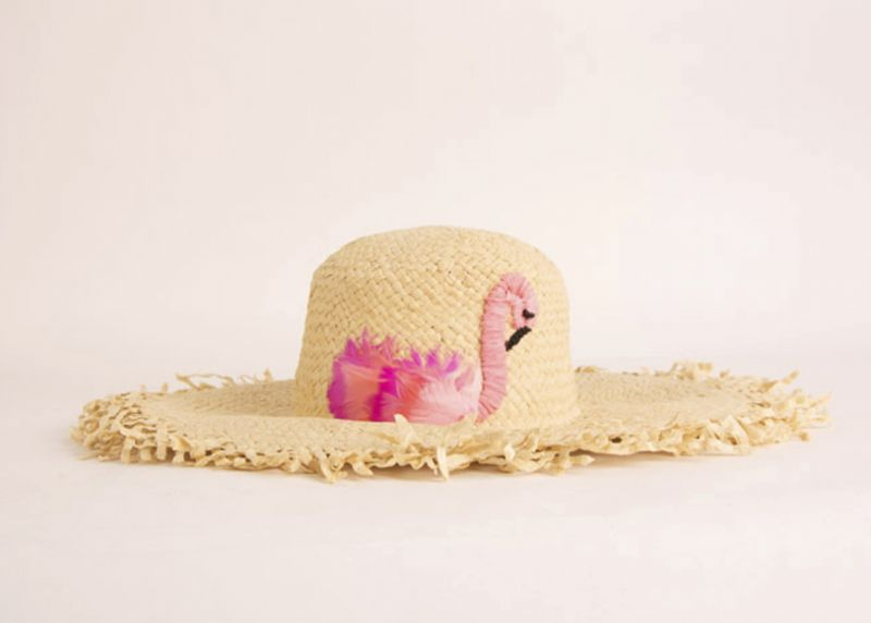 San Diego Hat Co. raffia sun hat with pink flamingo, $49 at Out of Hand