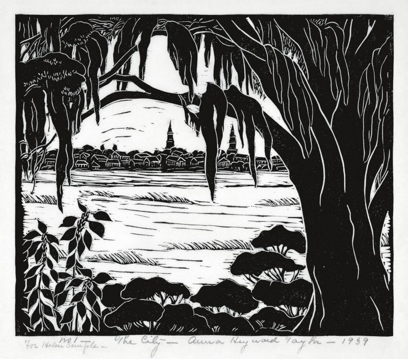 Taylor moved to Charleston in 1927 and produced numerous signature works of the region, including this woodblock print, The City, in 1939.