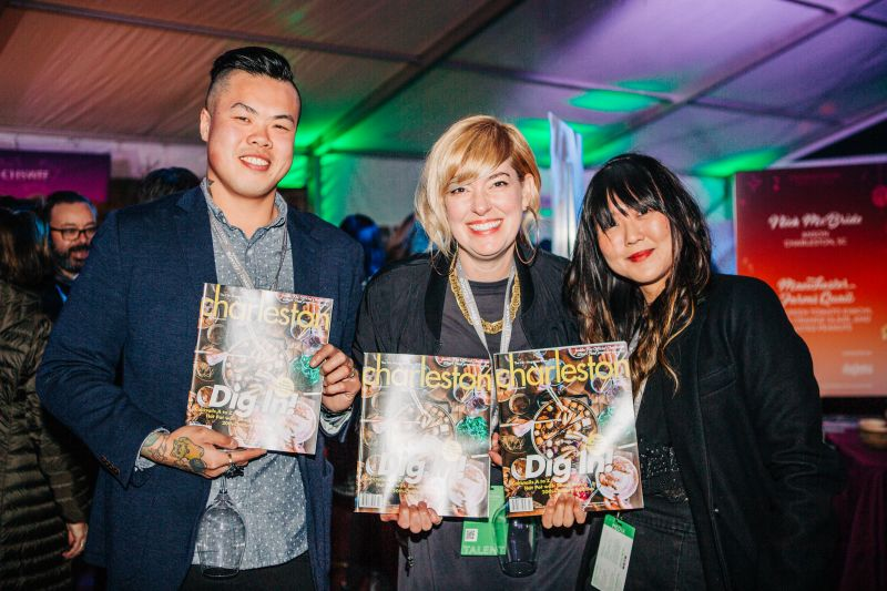 Shuai and Corrie Wang of Short Grain (and the upcoming Jackrabbit Filly) with Charleston magazine assistant editor Jen Choi
