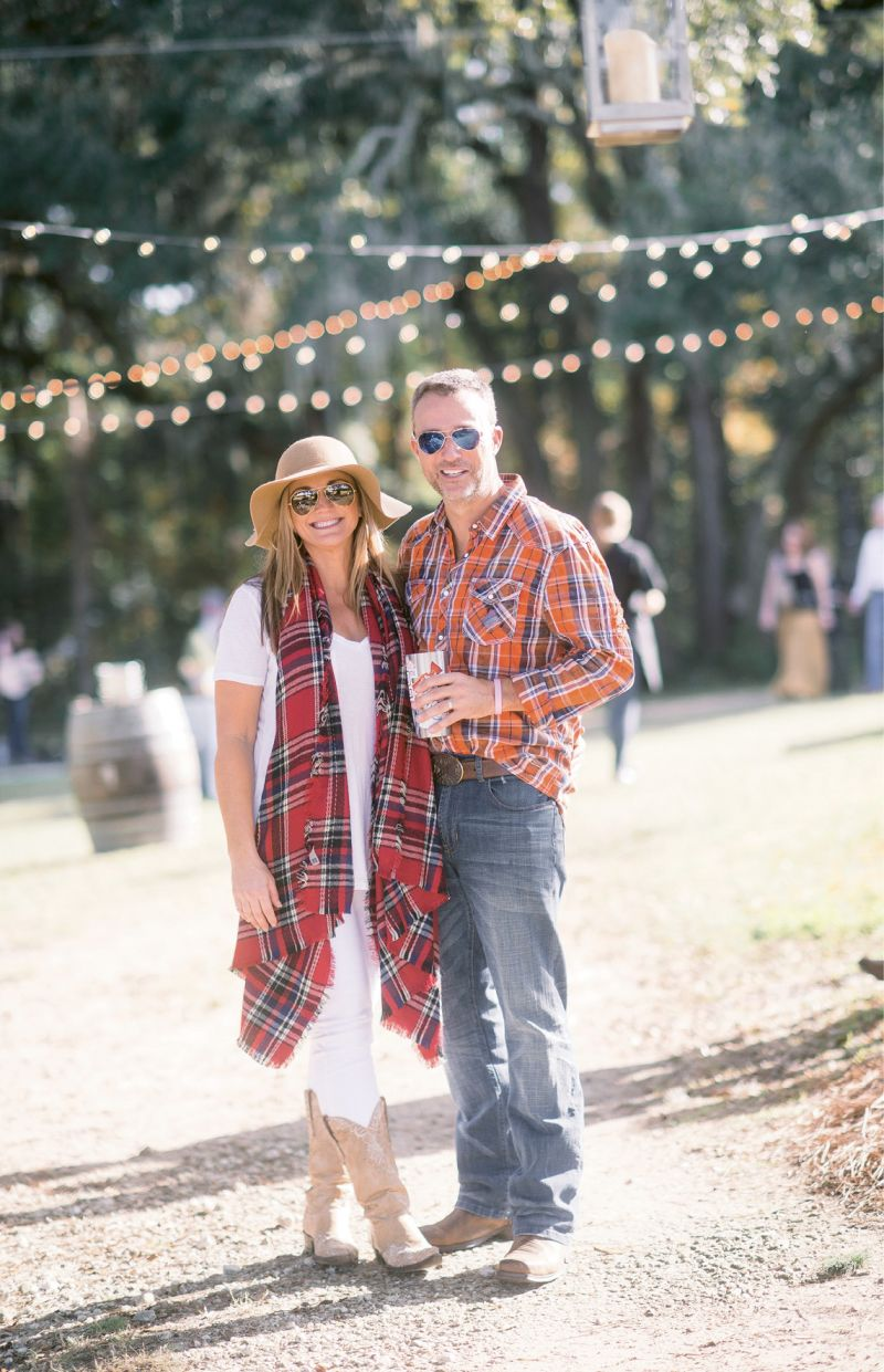 """A Relaxed Celebration: Melissa and Kevin Williams asked family and pals to pull out their cowboy boots to celebrate their wedding at a dressed-down winter fête on Yonges Island. """"Kevin and I often have oyster roasts—sometimes for just the two of us in our backyard,"""" she notes."""