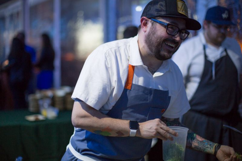 Chef Sean Brock at Husk and McCrady's station.