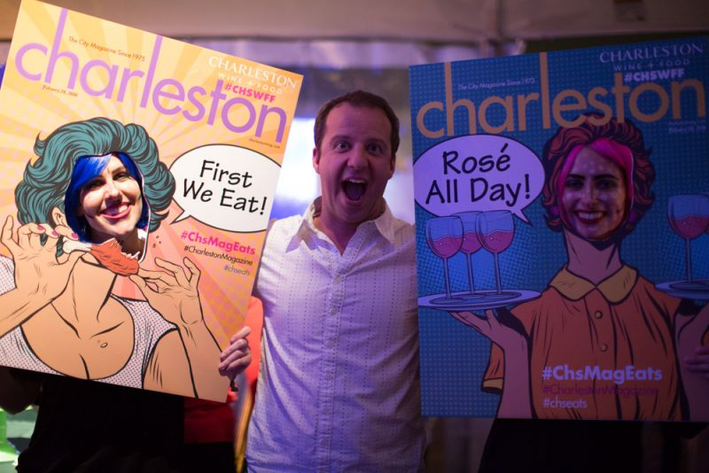 Charleston magazine's pop art covers made for fun photo ops throughout the evening.