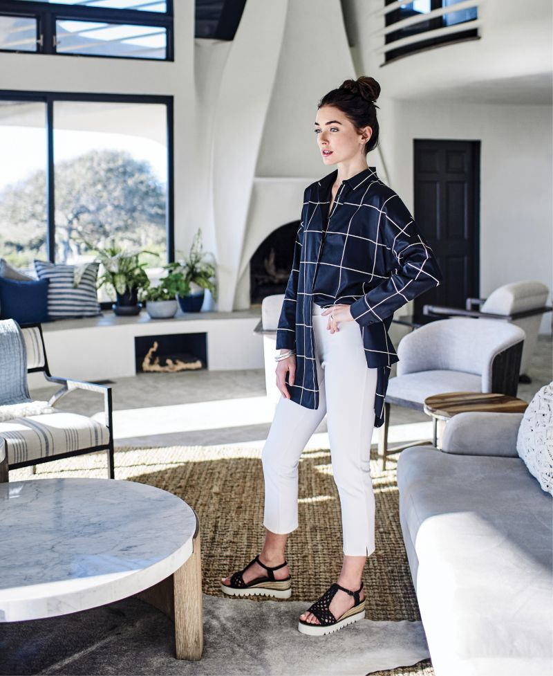 """GRIDLOCKED - Akris Punto cotton tunic blouse in """"Nero-Crema,"""" $795 at Gwynn's of Mount Pleasant; Jude Connally """"Lucia Ponte"""" pant, $188 at Jude Connally; Betty Carre brushed silver bangles, $126 for set of 3 at Out of Hand; Kendra Scott """"Terra""""silver ring set, $65 at KendraScott; Bibi Lou braided black platform sandals, $130 at Shoes on King"""