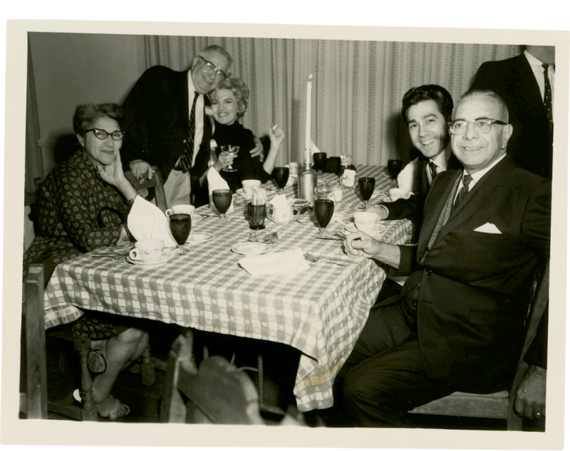 The LaBrasca family (with Effie at left and George Sr., at right) having dinner at the restaurant in the 1950s