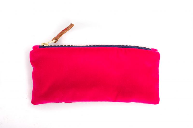 "Erin Flett velvet ""Berry"" pencil case, $35 at Mac & Murphy"