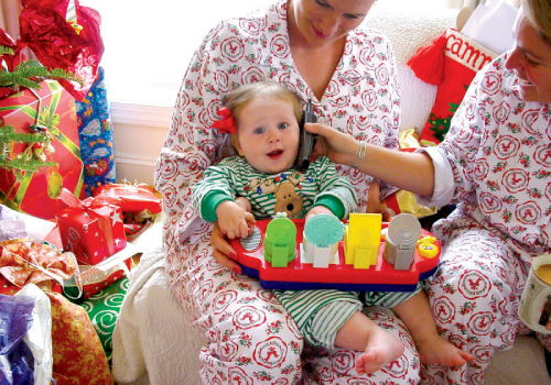 From the Southern Ocean, he wishes eight-month-old Tate Merry Christmas for the first time via satellite phone.
